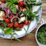Tomatsalat med mozzarella, rødløg og pesto