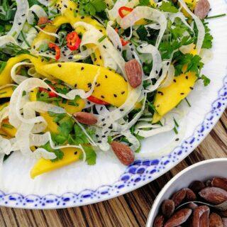 Mango fennikel salat med saltede mandler
